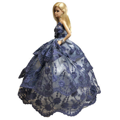 Barbie Strapless Gown - Romantic Ball Gown Strapless Layers of Organza Blue Dress for Barbie Doll