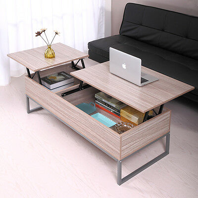 Newfangled Wood Lift Top Storage Coffee Table Living Room Work Home Furniture