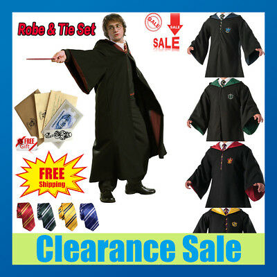 Harry Potter Hogwarts Adult Child Robe Cloak Scarf Tie Set School COS - Hogwarts Costumes
