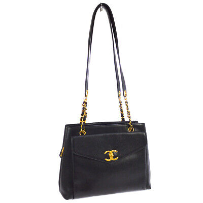 CHANEL CC Chain Shoulder Tote Bag Black Caviar Skin Leather Authentic 01491