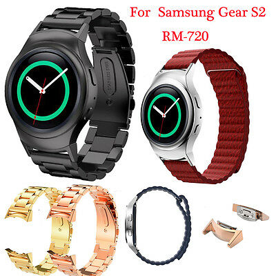 Leather/Steel LoopType Watch Band Strap+Connector For Samsung Gear S2 RM-720