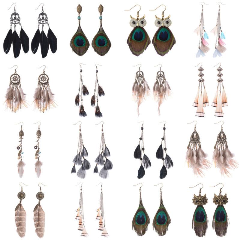 Bohemian Boho Multi Design Feathers Tassel Fashion Women Dangle Hook Earrings