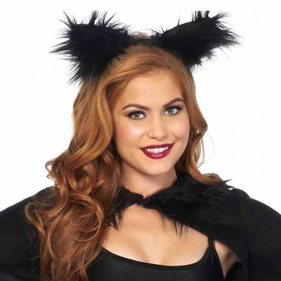 Furry Ears Black HALLOWEEN Costume Accesorie by Leg Avenue Animal Cat Bat Bear - Black Bear Halloween Costume