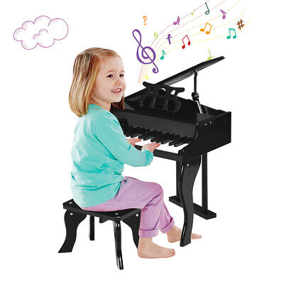 Classic 30 Key baby Grand Wooden Piano Toddler Toy w/ Bench & Music Rack Black Black Classic Grand Piano