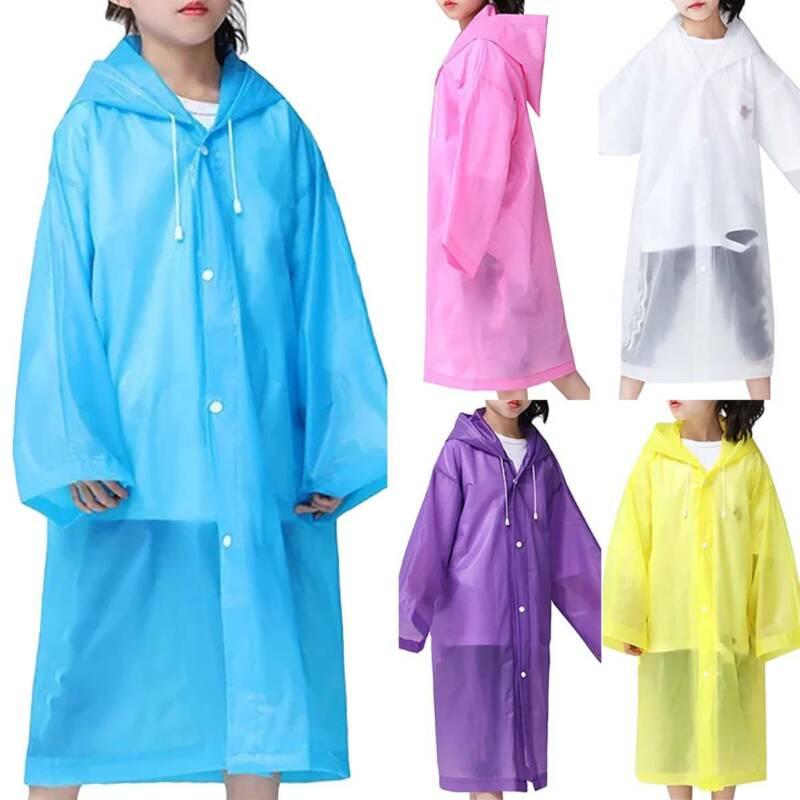 Kids Boy Girl Jacket Poncho Waterproof Hooded Raincoat Rain