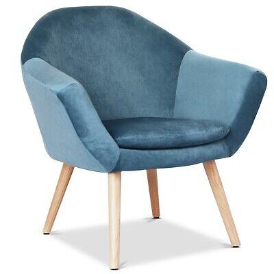 Sillon nordico azul comedor butaca salon dormitorio reposabrazos patas madera