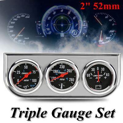 2'' 52mm Car Panel Oil Pressure Water Temp Amp Meter Triple Gauge 3in1 Set