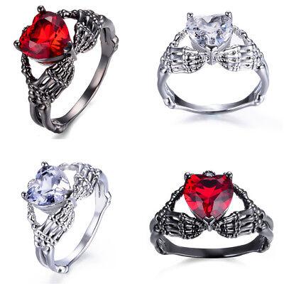 Eejart Hand Hold Heart Skeleton Ring Crystal Ruby Claddagh Ring White/Black - Ruby Claddagh Ring