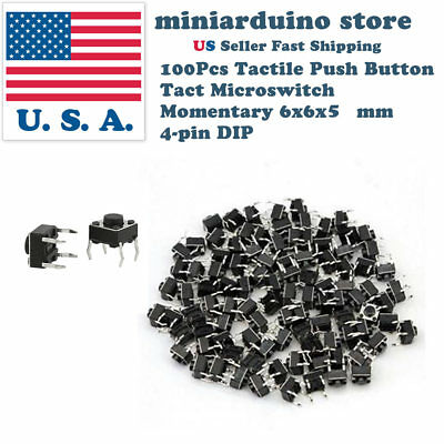 100pcs 6x6x5mm Pcb Momentary Tactile Tact Push Button Switch 4 Pin Dip Micro
