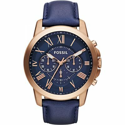 Fossil Grant Multi-Function Navy Dial Navt Leather Mens Watch FS4835
