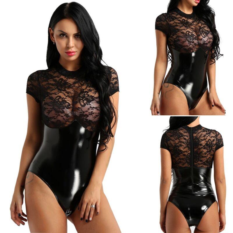 1a40870ac2d133 Details zu Damen Lack Leder Body Jumpsuit Transparent Spitze Bodysuit  Catsuit Reizwäsche