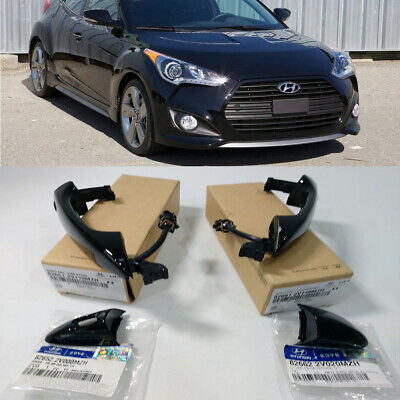 Genuine Front Door Handle Black 4Pcs For Smart Key For 2012-16 Hyundai Veloster