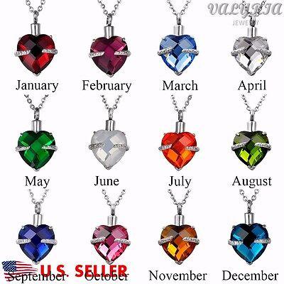 Crystal Birthstone Heart Cremation Jewelry Keepsake Memorial Urn Necklace