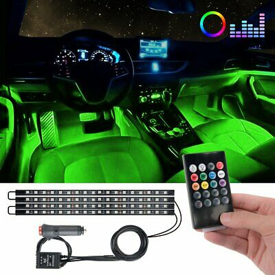 72 LED 4PCS Car Interior Atmosphere Neon Lights Strip Music Control w/IR Remote