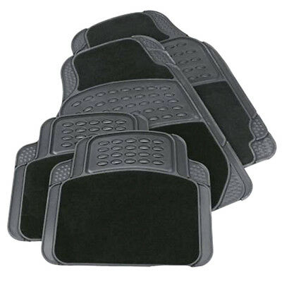 4PCS HEAVY DUTY UNIVERSAL BLACK CARPET  RUBBER CAR MAT SET NON SLIP VAN MATS