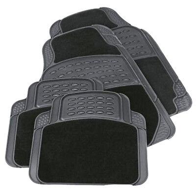 Car Parts - 4PCS HEAVY DUTY UNIVERSAL BLACK CARPET & RUBBER CAR MAT SET NON SLIP VAN MATS