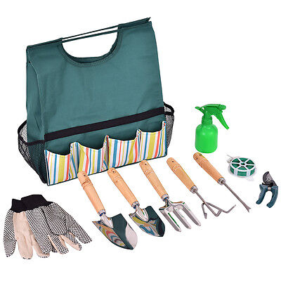 (10 PCS Gardening Planting Hand Tools Set Gloves Pruner Portable W/Carry Bag NEW)