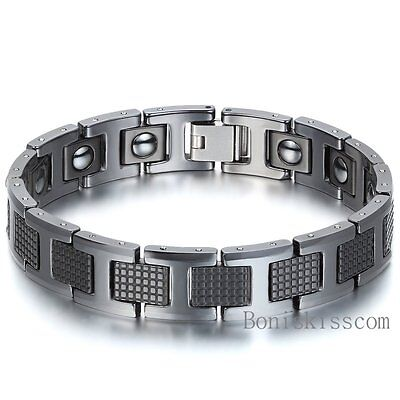 Men's Golf Link Bracelet Tungsten Carbide Magnetic Energy Therapy Power Black ()