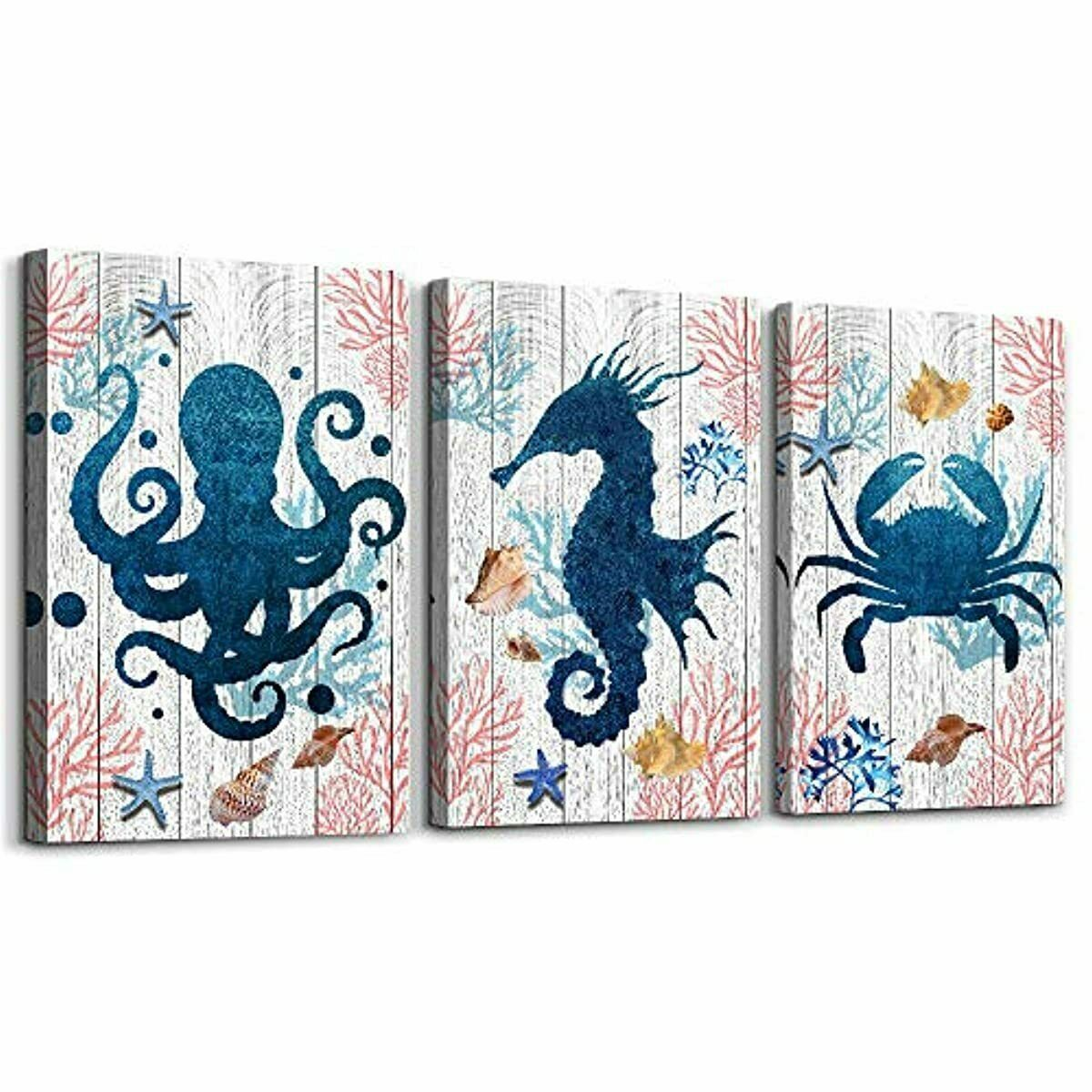 Blue Ocean Life Theme Canvas Prints Wall Art Paintings For Living Room Wall Artworks Sea Animal Sea Horse Octopus Jellyfish Pictures Bedroom Decorations 3 Panels Home Bathroom Wall Decor Posters Home