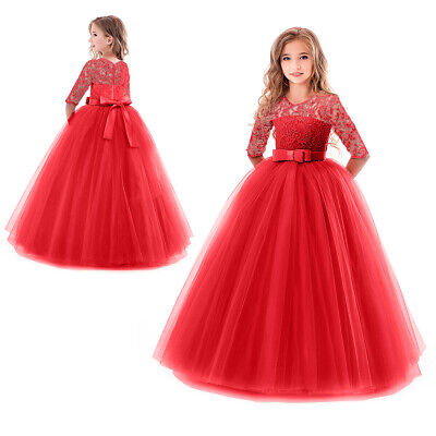 Kids Bridesmaid Lace Girls Dress For Wedding Party Dresses Christmas Costume  - Costume Dress For Kids