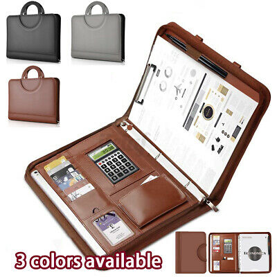 A4 Conference Folder Zipped Folio Case Pu Leather Business Document Case Bag