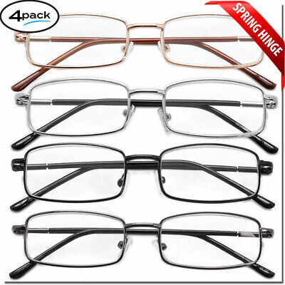 4 Pair Reading Glasses Men Women Unisex with Spring Hinge Metal Pack Readers (Hinge Reading Glasses)