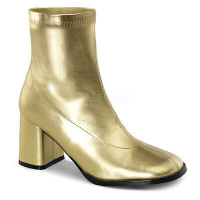 Gold 70s Disco 60s Hippie Shoes GoGo Dancer Mod Costume Ankle Boots Womans 7 8 9 (70s Gogo Dancer)