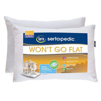 Sertapedic Won't Go Flat Pillow, Set of 2, Standard/Queen