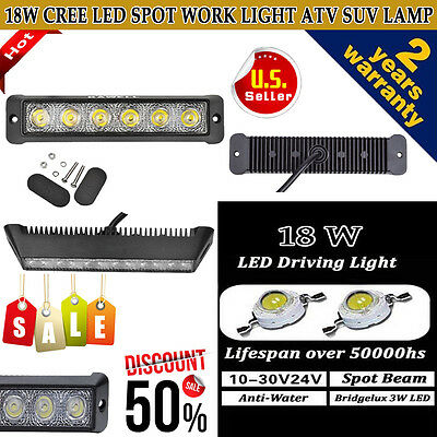 18W CREE Spot Beam LED Work Light Offroad Driving SUV Car Fog Lighting ATV Lamp