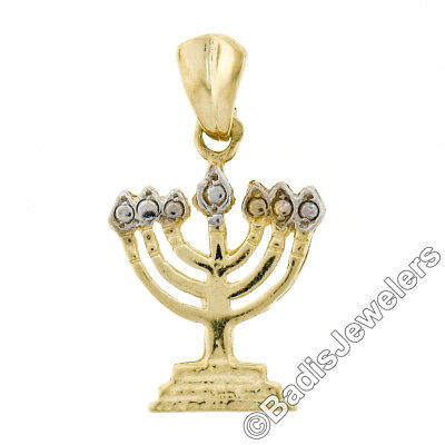 Solid 14K Yellow & White Gold Petite Detailed Open Menorah Charm Pendant