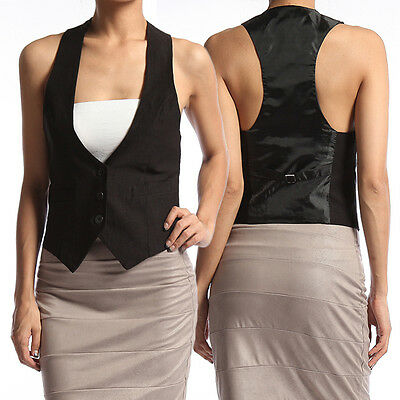 TheMogan Women's Tuxedo Dress Vest Waistcoat Sleeveless Satin Racerback Jacket ()