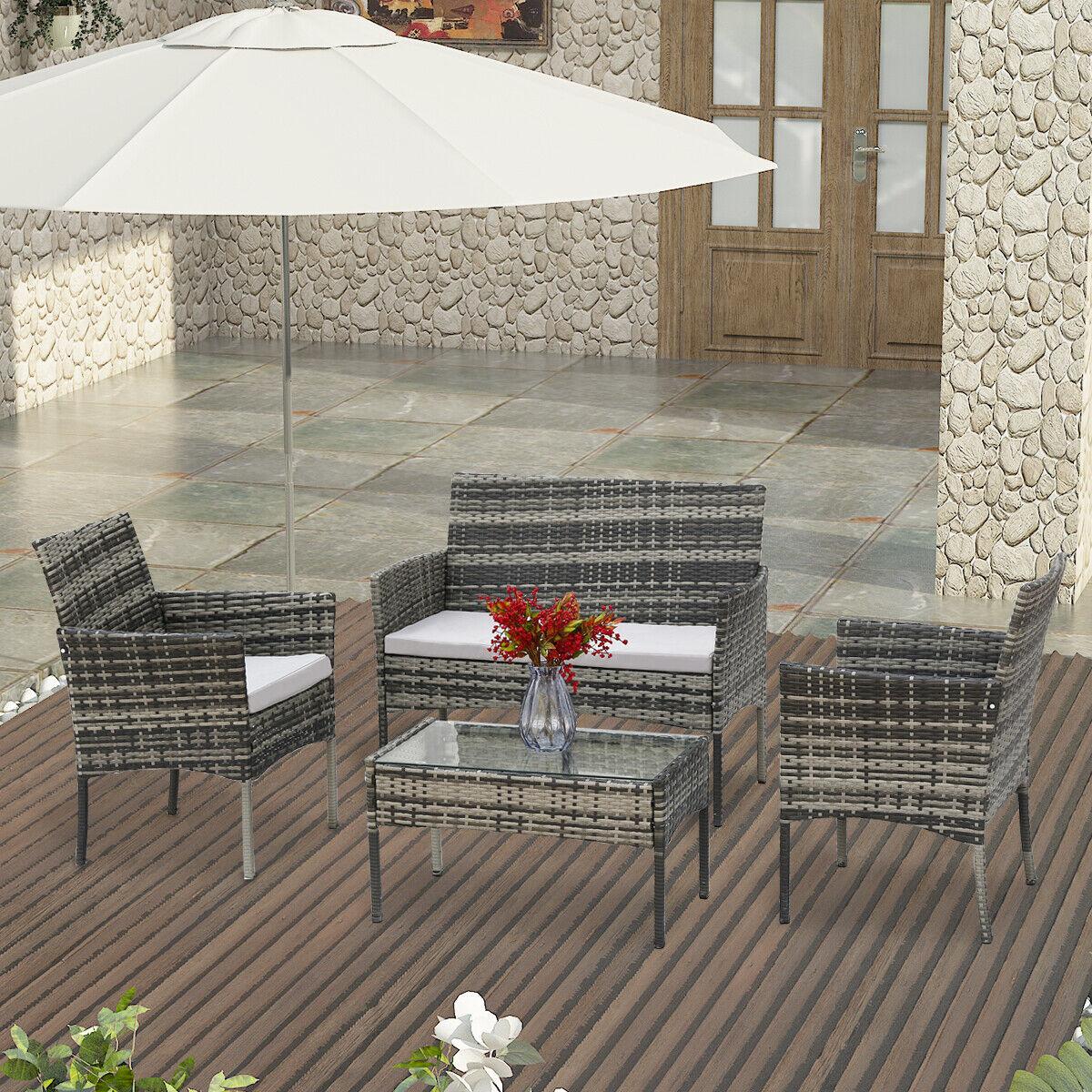 Garden Furniture - Grey Rattan Outdoor Garden Madrid Furniture Set Conservatory Patio Lounge