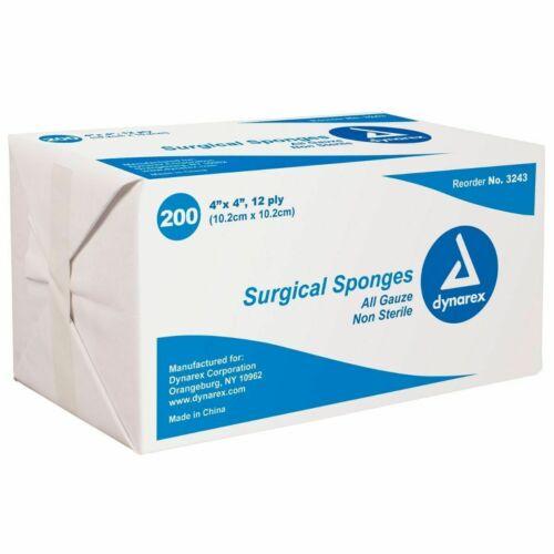 """Dynarex Surgical Sponges 4x4"""" 12 Ply Non-sterile Gauze Pads 200/PK #3243"""