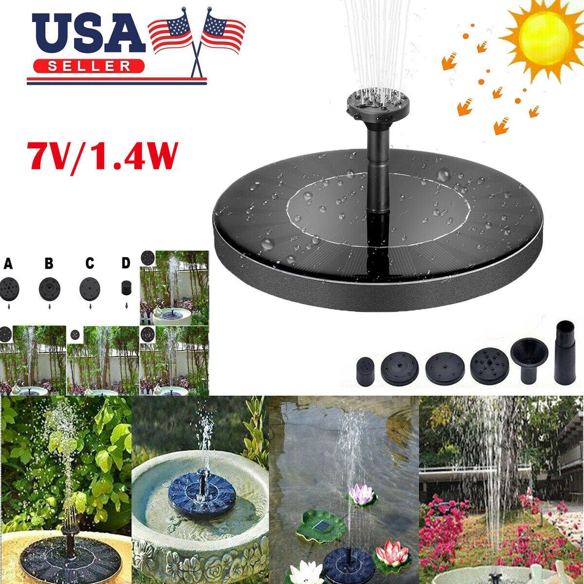 Bird Bath Fountain Solar Powered Water Pump Floating Outdoor