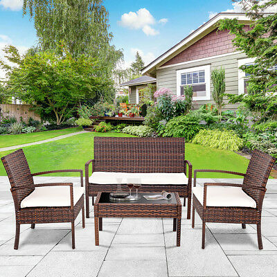 Garden Furniture - 4 PC Rattan Patio Furniture Set Garden Lawn Sofa Cushioned Seat Wicker Sofa