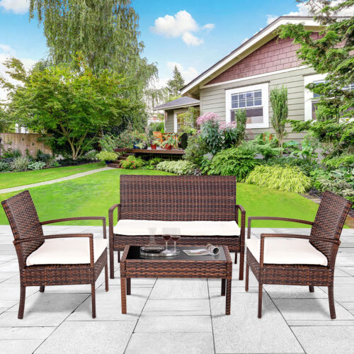 4 Pc Rattan Patio Furniture Set Garden Lawn Sofa Cushioned Seat Wicker Sofa