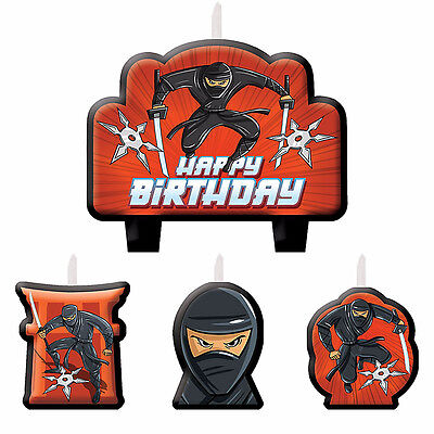 NINJA Cake Decoration Happy Birthday Candle Set 4 Piece Party Favor Supplies