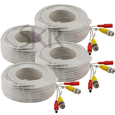 4 Pcs 120 ft feet CCTV BNC Video 12v DC Power cable for