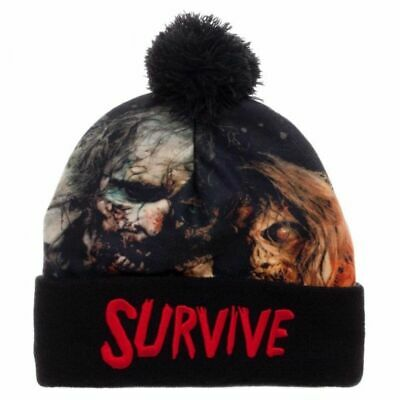 Walking Dead Zombies Sublimated Cuffed Pom Beanie Hat for sale  Shipping to Canada