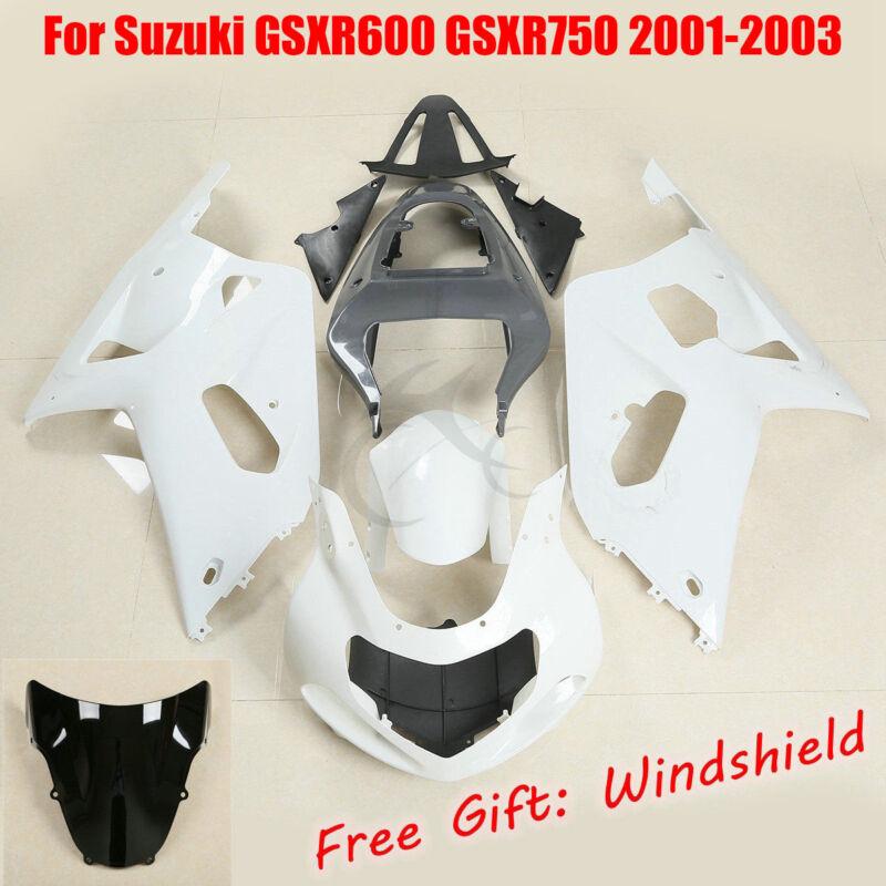 Unpainted ABS Plastic Injection Fairings Bodywork for 01-03 Suzuki GSXR 600 750