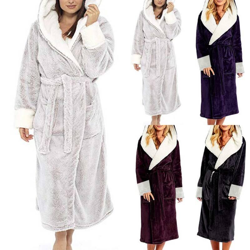 Womens Dressing Gown Hoodie Fleece Fluffy Soft Warm Ladies B