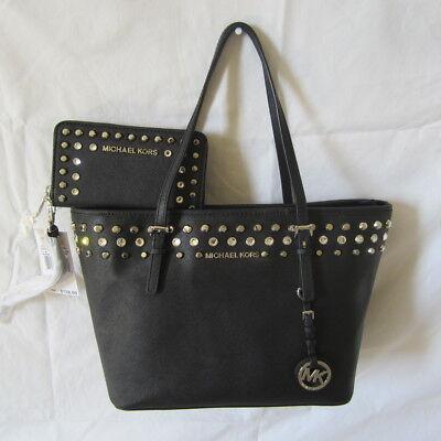 NWT Michael Kors Jet Set Small Travel Jewel Tote Handbag with Wristlet - Black