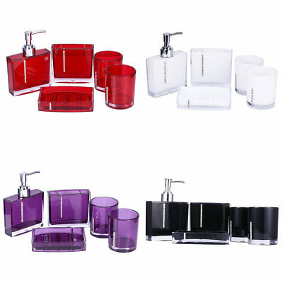5PCS Acrylic Bathroom Accessories Bath Cup Bottle Toothbrush Holder Soap Dishes
