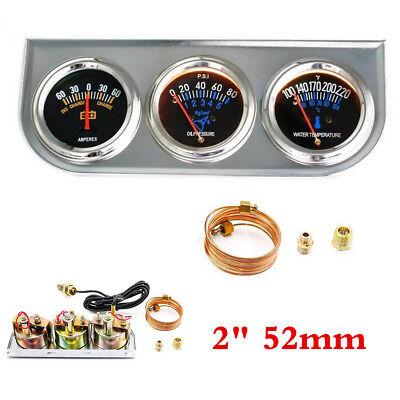 """2"""" 52mm Triple Gauge Kit 3in1 Volt Meter Water Temp Oil Pressure Car Auto Meter"""