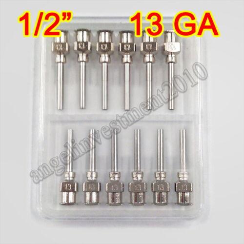 "12pcs 1/2"" 0.5 inch 13GA Blunt stainless steel dispensing syringe needle tips"