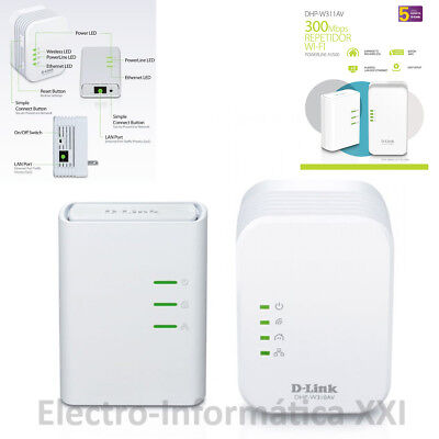 Extensor de red wifi por cable PLC powerline D-Link DHP-W311AV Kit Powerline...