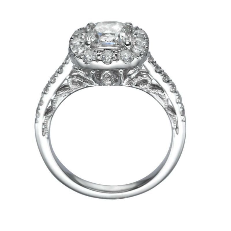 Solitaire W Accents 2.25 Ct Diamond Halo Ring Filigree Vs1 18 Kt White Gold