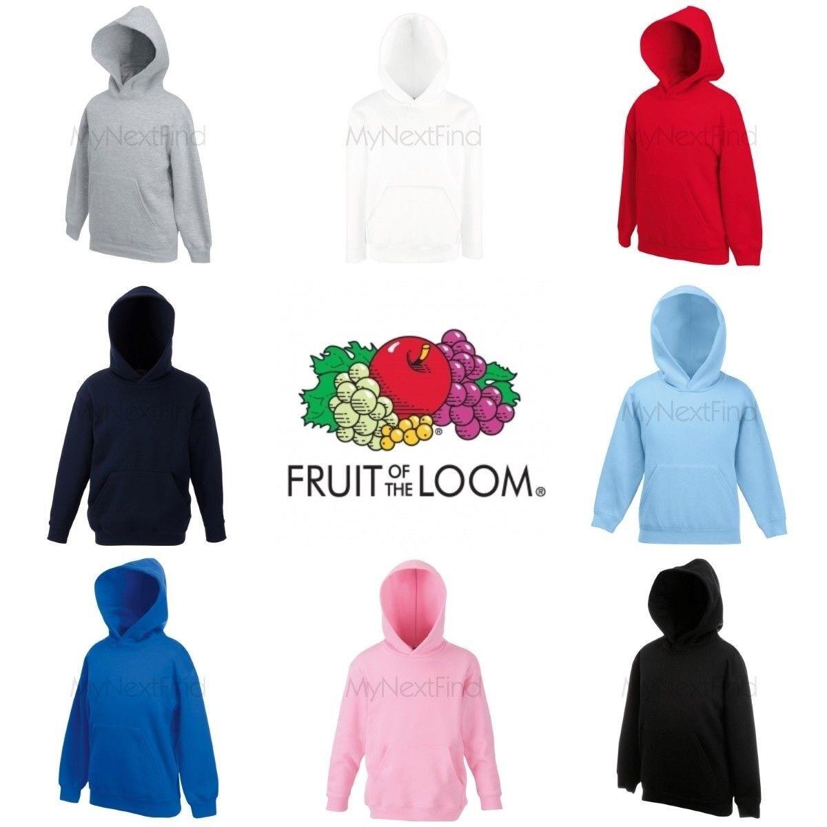 Black Pink /& Royal Blue     Free P/&P Fruit of the Loom Kids Hoodies