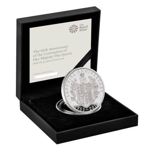 2018 Great Britain Sapphire Coronation Silver £5 GEM Proof MInt Packaging