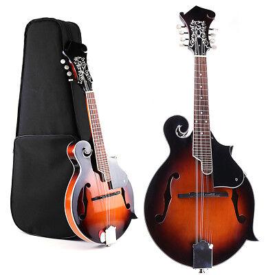 Hand Carved Solid Basswood 8 String F Style Mandolin Sunburst with Gig Bag